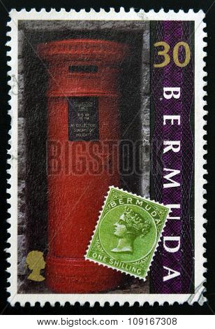 BERMUDA - CIRCA 1999: A stamp printed in Bermuda shows a mail box circa 1999
