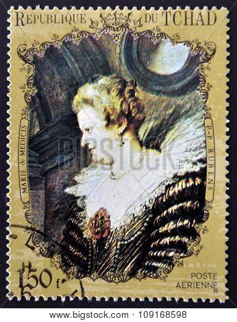 CHAD - CIRCA 1972: A stamp printed in Chad shows Marie de' Medici by Rubens circa 1972