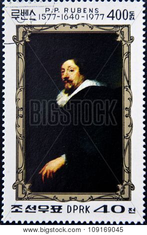 stamp printed in North Korea dedicated to the 400th anniversary of Peter Paul Rubens