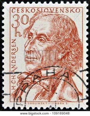 CZECHOSLOVAKIA - CIRCA 1955: stamp printed in Czechoslovakia shows Hans Christian Andersen circa 195