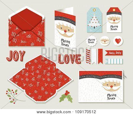 Merry Christmas Set Printable Greeting Card Cute