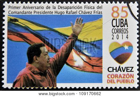 A stamp printed in Cuba shows Hugo Rafael Chavez (1954-2013) President of Venezuela