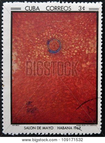 Stamp printed in Cuba commemorative to May Salon 1967 shows Where Cardinals are Born by Max Ernst