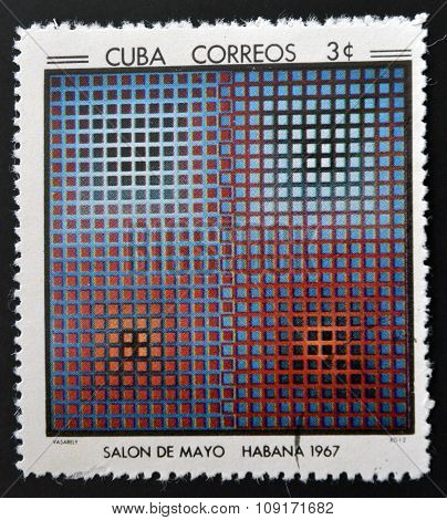 Stamp printed in Cuba commemorative to May Salon 1967 shows EG 12. by V. Vasarely
