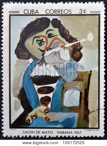 Stamp printed in Cuba commemorative to May Salon 1967 shows The man with the pipe by Pablo Picasso