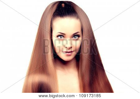 Long hair. Updo Hairstyle. Hair Salon. Fashion model with shiny hair. Woman with healthy hair girl with luxurious haircut. Hair loss Surprised girl with hair volume.