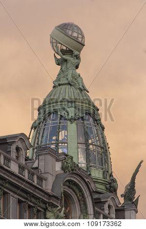 Saint-Petersburg Nevsky prospect. Historical centre.Decorative glass tower of Book (Zinger) house