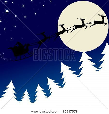 Illustration Of Santa And His Reindeer