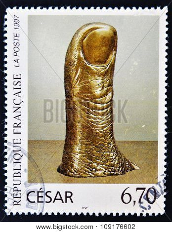 FRANCE - CIRCA 1997: a stamp printed in France shows The Thumb Polished Bronce by Cesar circa 1997