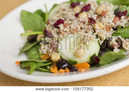 Fresh and healthy quinoa salad on bed of spinach with dried cranberries