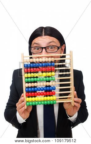 Funny man with calculator and abacus