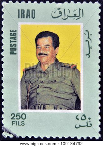 IRAQ - CIRCA 2000: A stamp printed in Iraq shows Saddam Hussein circa 2000