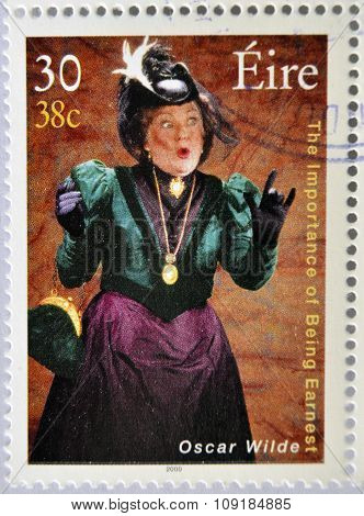 a stamp printed in Ireland shows an image commemorative of The importance of being Earnest by Oscar