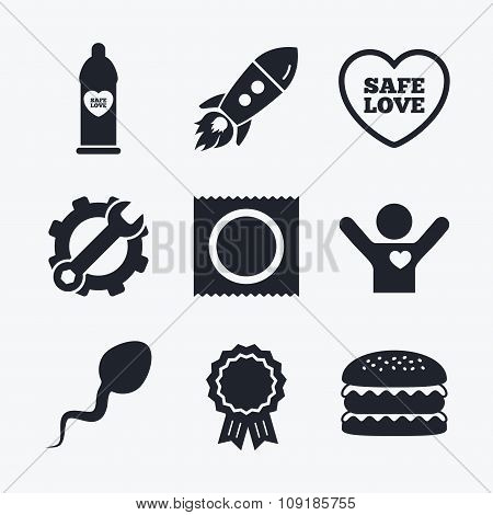 Award achievement, spanner and cog, startup rocket and burger. Safe sex love icons. Condom in package symbol. Sperm sign. Fertilization or insemination. Flat icons. poster