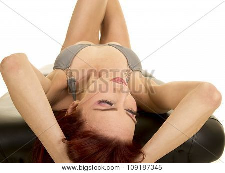 Woman Red Hair Lay On Back On Table Elbows Out