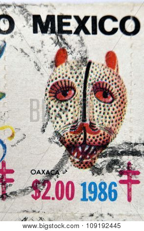 MEXICO - CIRCA 1986: A stamp printed in Mexico shows Mexican mask oaxaca circa 1986
