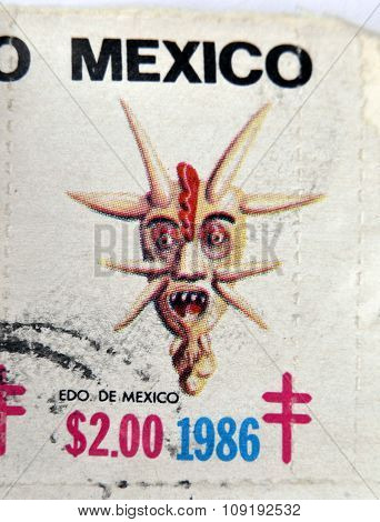MEXICO - CIRCA 1986: A stamp printed in Mexico shows Mexican mask edo de mexico circa 1986