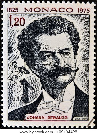 stamp printed in Monaco shows image portrait of famous Austrian music composer Johann Strauss