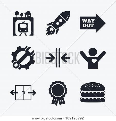 Award achievement, spanner and cog, startup rocket and burger. Underground metro train icon. Automatic door symbol. Way out arrow sign. Flat icons. poster