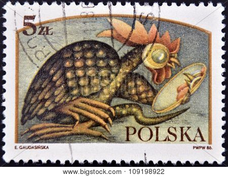 POLAND - CIRCA 1986: A stamp printed in Poland dedicated to Polish legends shows The Basilisk