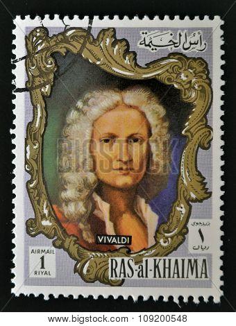 RAS AL-KHAIMAH - CIRCA 1970: a stamp printed in the Ras al-Khaimah shows Antonio Lucio Vivaldi