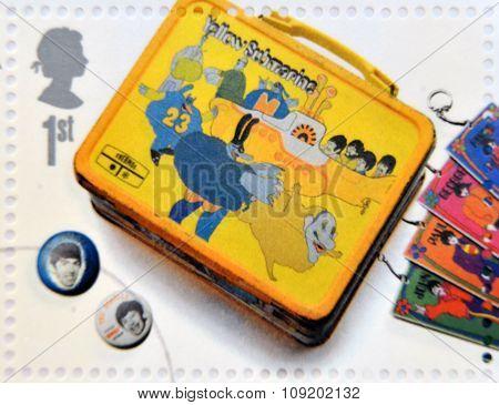 A stamp printed in Great Britain shows the Beatles memorabilia
