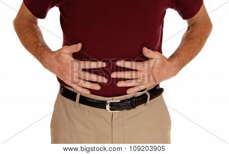 Man Holding His Stomach For Pain.