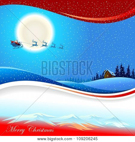 Santa and Sleigh : Merry Christmas Illustration