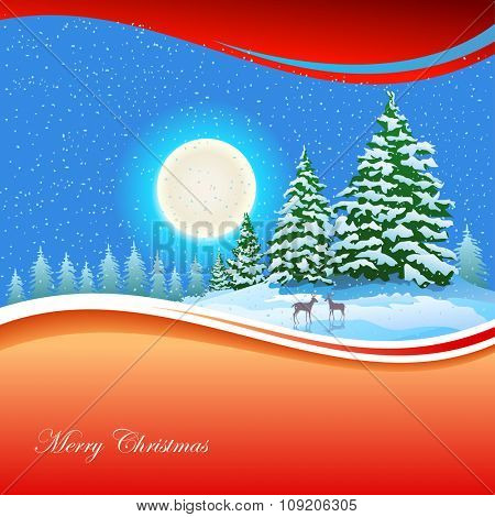 Ferns Moon and Reindeer :Merry Christmas Illustration