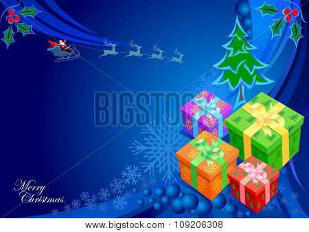 Bunch of Gifts : Merry Christmas Illustration