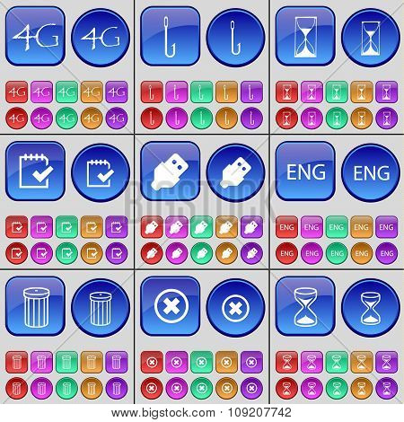 4G, Hook, Hourglass, Survey, Usb, Eng, Trash Can, Stop. A Large Set Of Multi-colored Buttons.