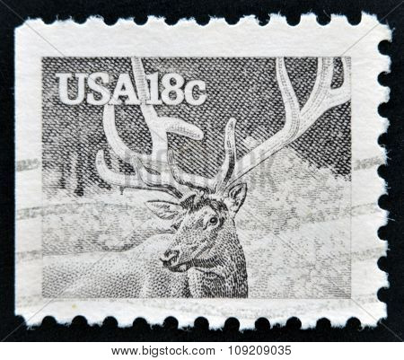 UNITED STATES OF AMERICA - CIRCA 1981: stamp printed in USA shows the elk or wapiti