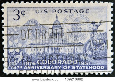 A stamp printed in USA dedicated to 75 years anniversary of Statehood