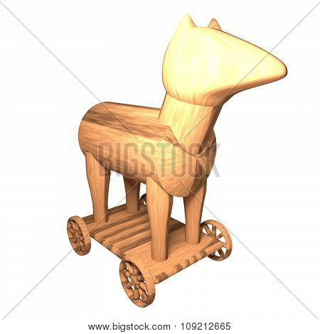 Trojan Horse isolated over white 3d render square image poster