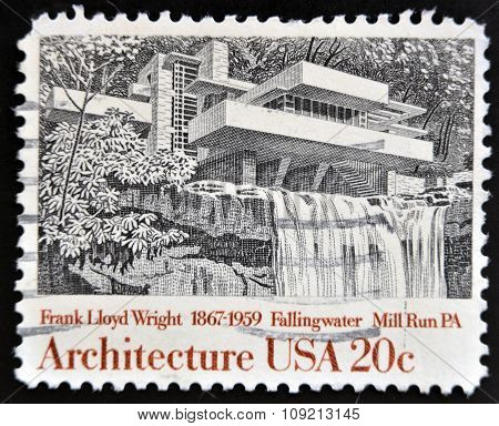 A stamp printed in USA shows Fallingwater Mill Run Pennsylvania by Frank Lloyd Wright circa 1982