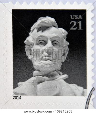 A stamp printed in USA shows Abraham Lincoln circa 2014