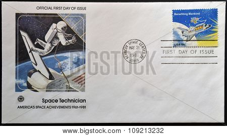 A stamp printed in the USA shows Benefiting Mankind circa 1981