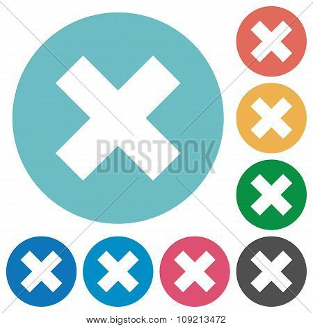 Flat cancel icon set on round color background. 8 color variations included with light teme. poster