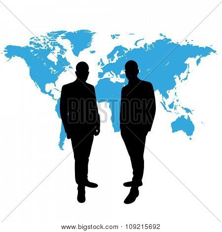 CEO in front of world map in black and blue
