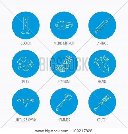 Syringe, beaker and pills icons. Medical signs.
