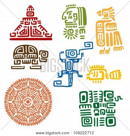 Ancient mayan and aztec totems or signs