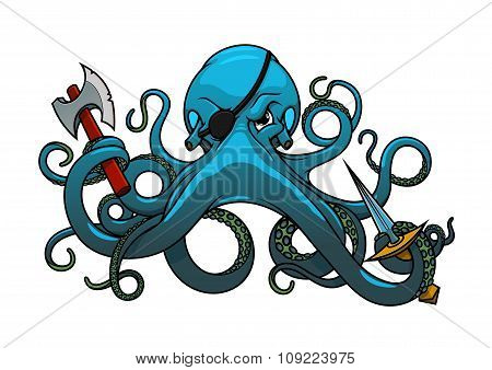 Cartoon octopus pirate with axe and sword