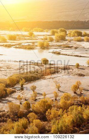 Indus River in sunrise view during falls season, Leh, Ladakh, Jammu and Kashmir, North India