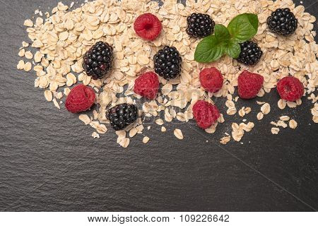 Healthy Breakfast And Berries On Slate Background, Close-up