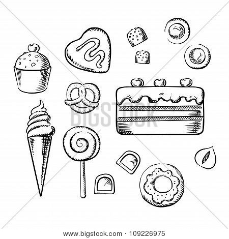 Sweet delicious pastry, bakery and dessert sketch