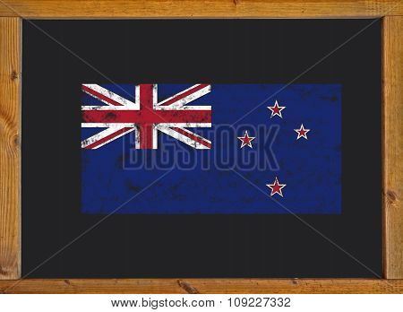 the New Zealand flag on a blackboard