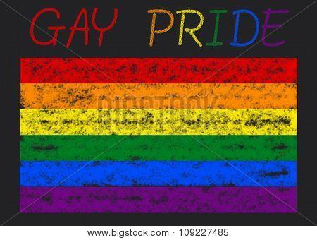 gay pride flag on a blackboard