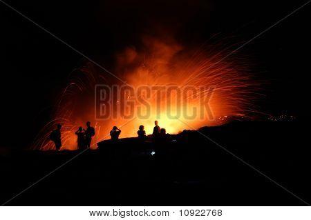 People Watching Lava