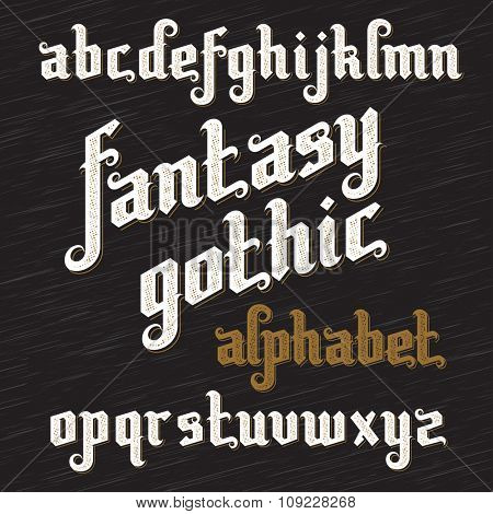 Fantasy Gothic Font. Retro vintage alphabet. Custom type letters on dark background. Stock vector typography
