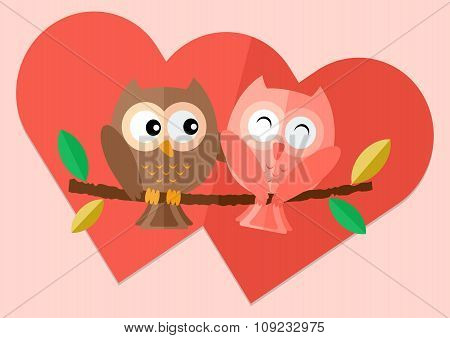 Sweetheart owls with love on tree and two red hearts in background vector flat illustration.